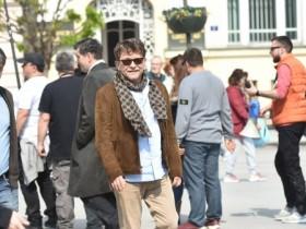 Autor serije i glumac Dragan Bjelogrlić na snimanju Senke nad Balkanom, Novi Sad, 9.4.2019; foto: Beta/Dragan Gojić