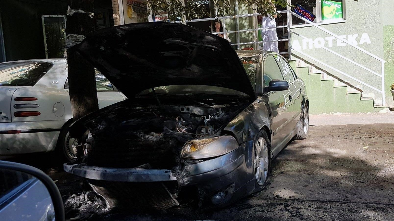 Oliver Ivanovic's car is seen gutted by fire after it was blown up by unknown attackers in July 2017. Photo: KoSSev