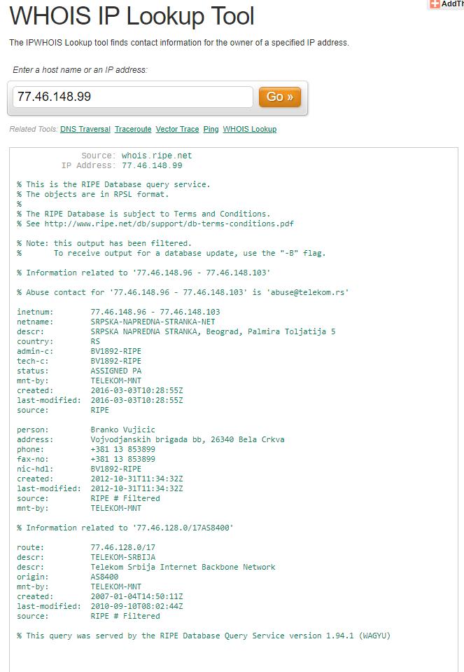 IP adresa registrovana na adresi sedišta SNS-a